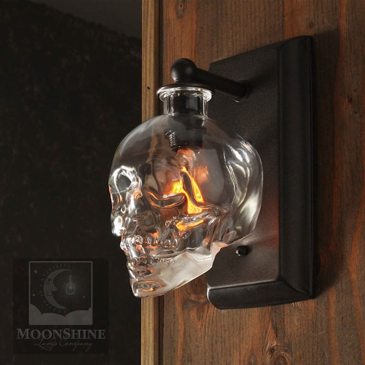 Crystal Head Vodka Skull Wall Sconce:  Corridor, hallway & stairs by Moonshine Lamp Co.