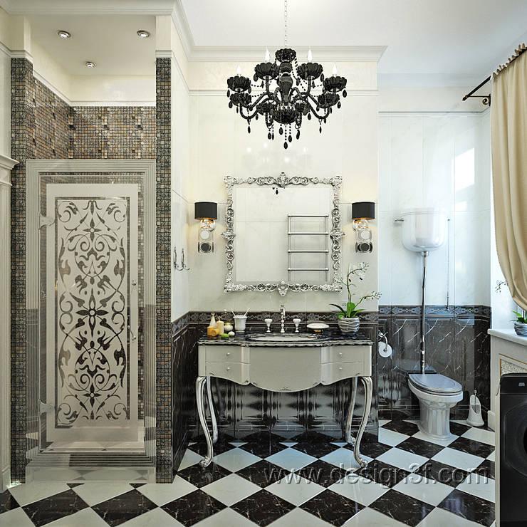Красивый санузел черно белого цвета: Ванные комнаты в . Автор – студия Design3F
