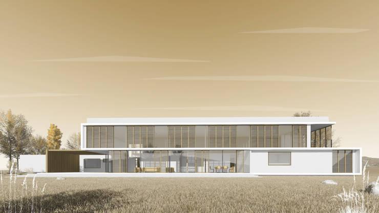 Fachada Posterior: Casas unifamiliares de estilo  por D01 arquitectura