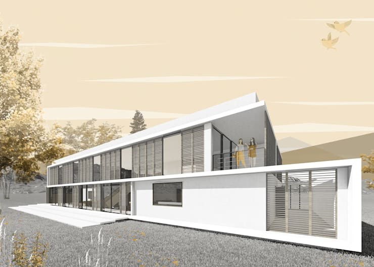 Vista Lateral Fachada Posterior: Casas unifamiliares de estilo  por D01 arquitectura