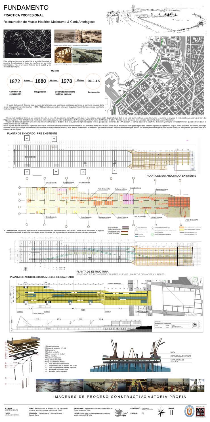 Restauración Muelle Histórico Melbourne & Clark Antofagasta:  de estilo  por Arqui Bim Integra