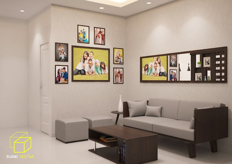 Minimalist Home Project for Mr. R:  Living room by Ruang Sketsa