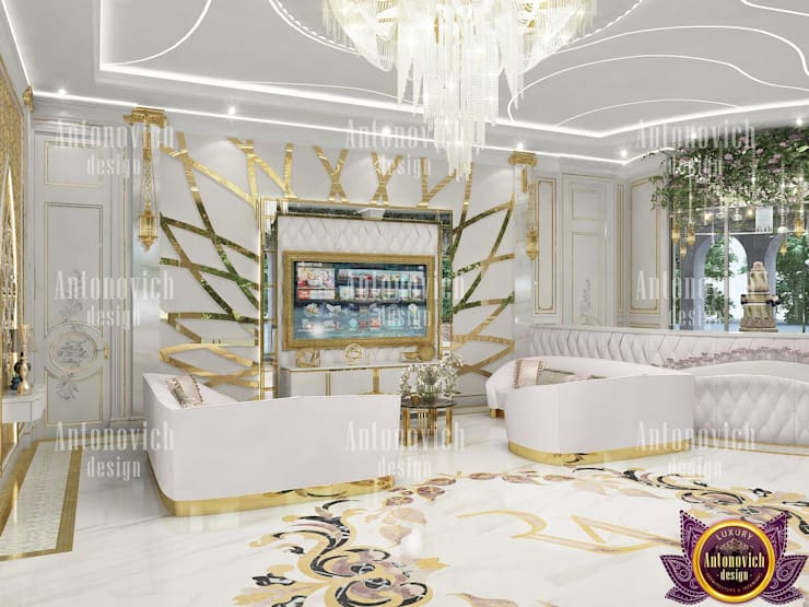 ​Fashionable and bright interiors by Katrina Antonovich:  Conservatory by Luxury Antonovich Design