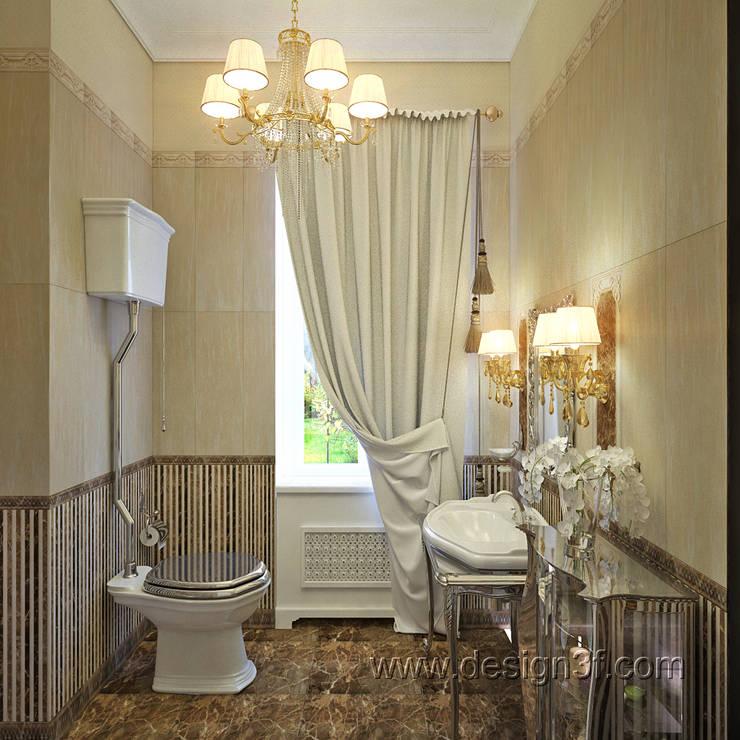 Светлая ванная с окном: Ванные комнаты в . Автор – студия Design3F, Классический
