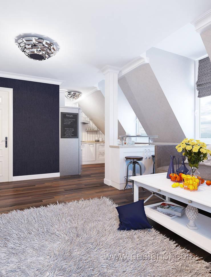 Студия на мансарде в скандинавском стиле: Гостиная в . Автор – студия Design3F, Скандинавский