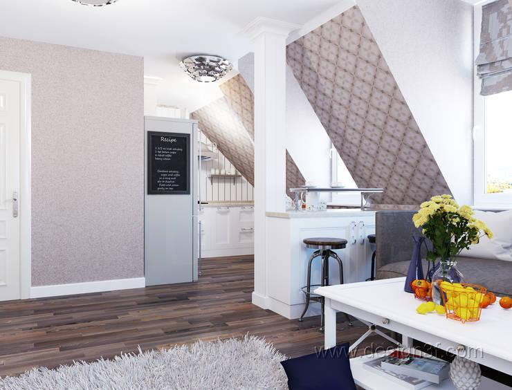 Маленькая квартира на мансарде: Кухни в . Автор – студия Design3F, Минимализм