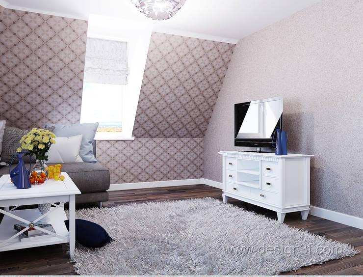 Маленькая квартира на мансарде: Гостиная в . Автор – студия Design3F, Минимализм