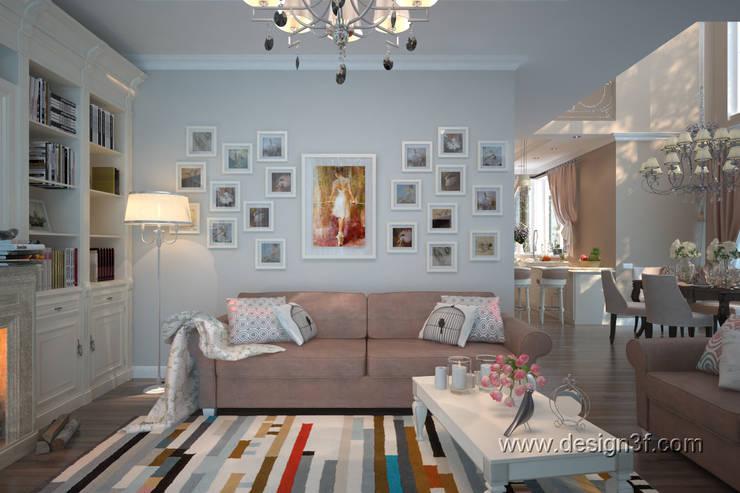 Гостиная  с картинами : Гостиная в . Автор – студия Design3F, Классический