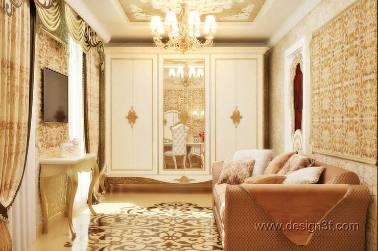 Небольшая комната в бежевых тонах: Гостиная в . Автор – студия Design3F, Классический