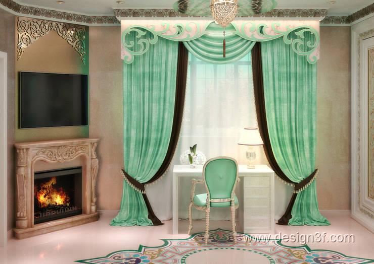 Комната с камином для гостей: Гостиная в . Автор – студия Design3F, Классический