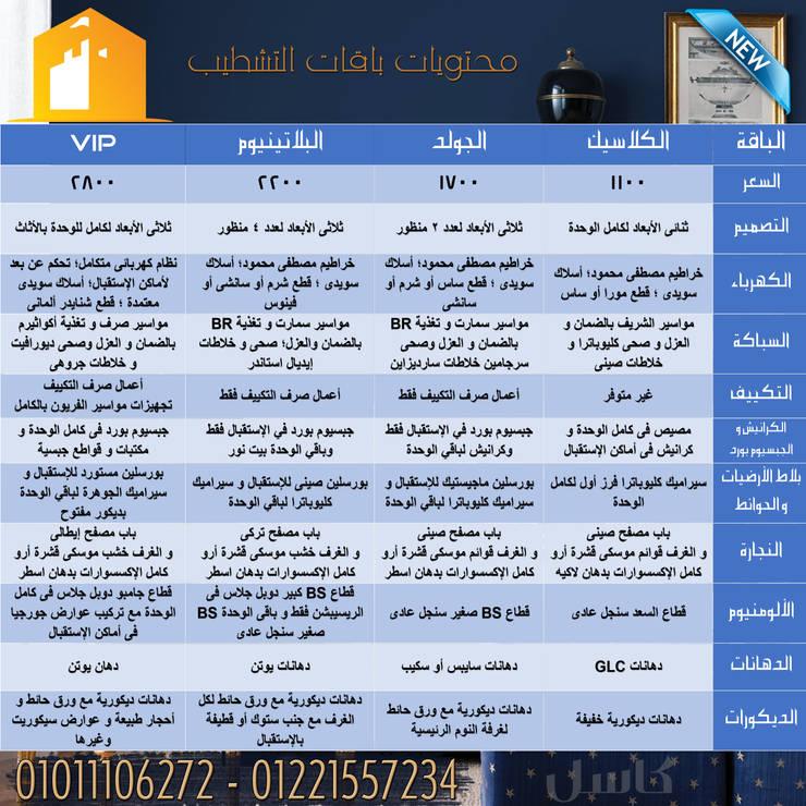 باقات التشطيب مع كاسل هتوفرلك وهيكون بيتك أحلي:  المنزل تنفيذ كاسل للإستشارات الهندسية وأعمال الديكور في القاهرة