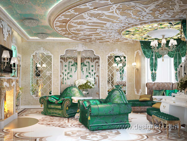 Living room by студия Design3F, Asian