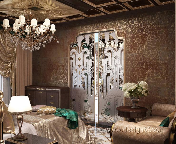 Роскошная спальня в темных тонах: Спальни в . Автор – студия Design3F, Эклектичный