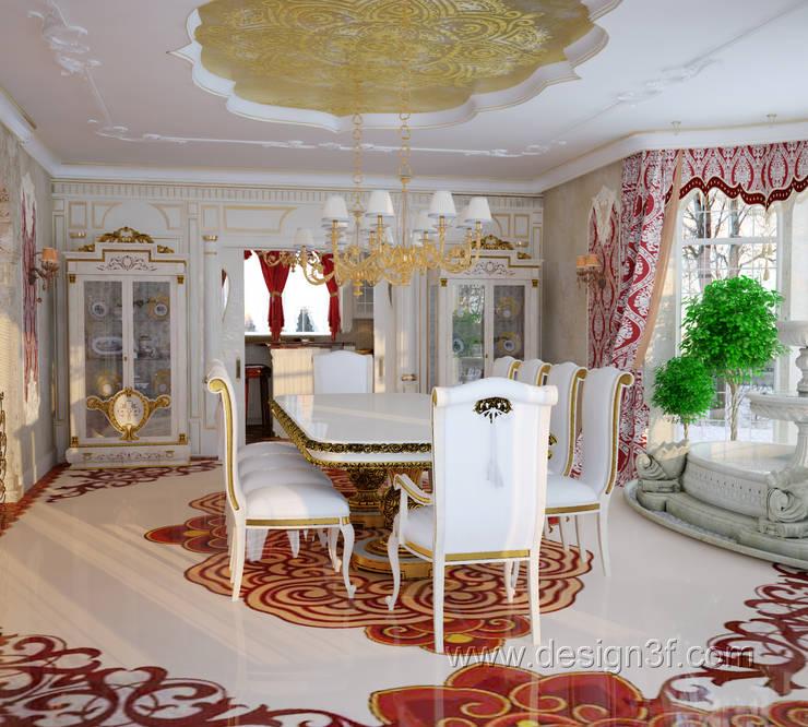 Большая столовая в восточном стиле: Столовые комнаты в . Автор – студия Design3F, Азиатский