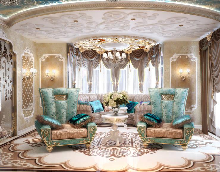 Комната с большим диваном в восточном стиле: Гостиная в . Автор – студия Design3F, Азиатский