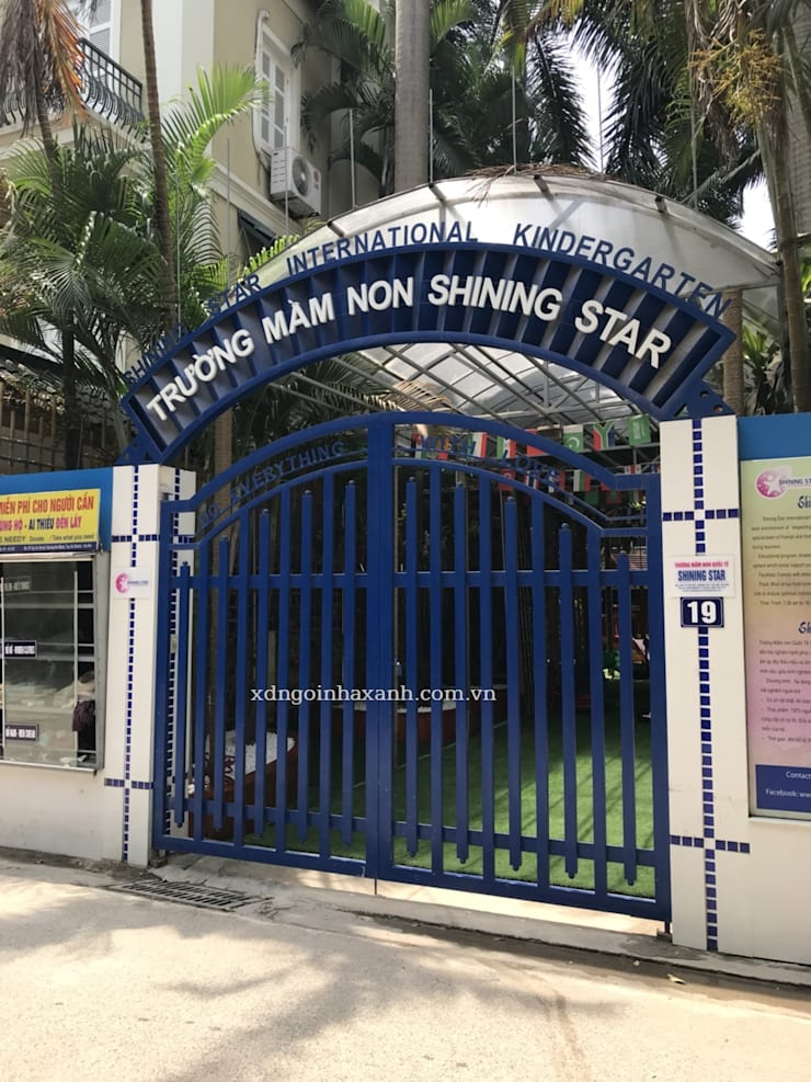 Thi công ngoại thất Trường Mầm non Shining Star:  Trường học by Công ty TNHH Xây dựng và Phát triển Ngôi Nhà Xanh