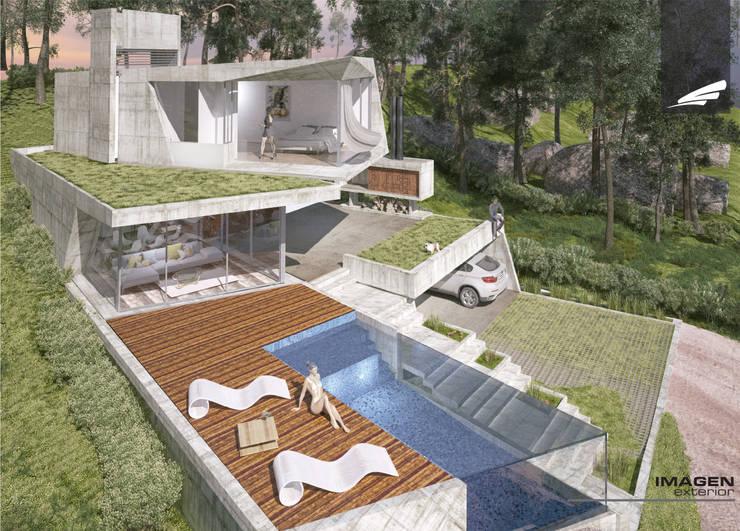 Vivienda FF: Piletas de estilo  por síncresis arquitectos