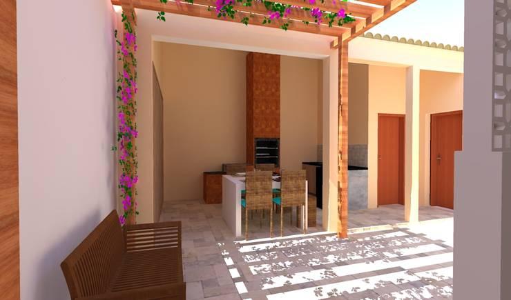 Projeto de Reforma - Área Gourmet: Garagens e edículas  por Priscyla Targino Arquitetura e Interiores