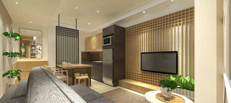 Trivium Apartment 3BR :  Ruang Keluarga by SAE Studio (PT. Shiva Ardhyanesha Estetika)