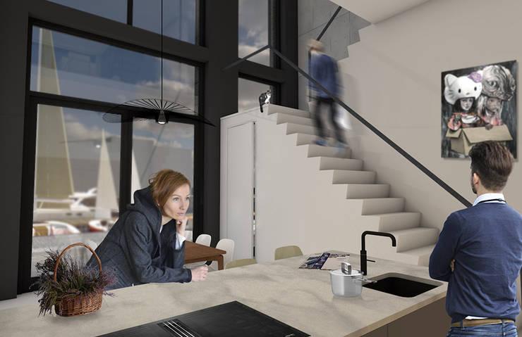 Salas de jantar  por Studio Kustlijn Architecten , Moderno Ferro/Aço