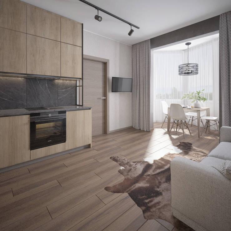 Природные цвета в интерьере квартиры в Сочи: Кухни в . Автор – Alt дизайн