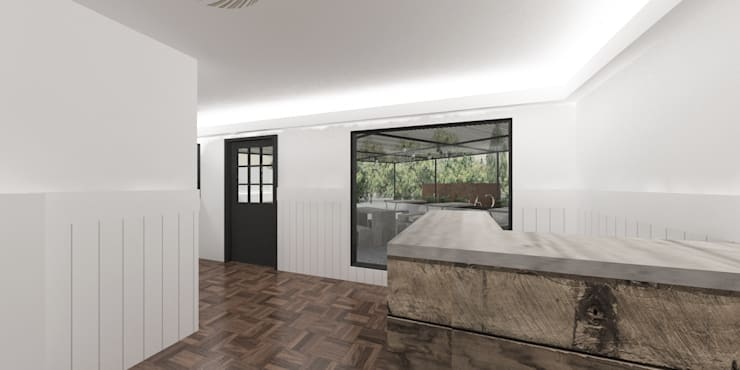 Diseño de Fábrica de Pizzas en Vitacura, por DAMRA: Restaurantes de estilo  por DIEGO ALARCÓN & MANUEL RUBIO ARQUITECTOS LIMITADA