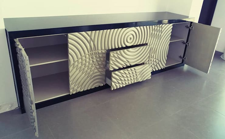 Diseño de Mueble: Sala multimedia de estilo  por Athalia cocinas y Carpinteria