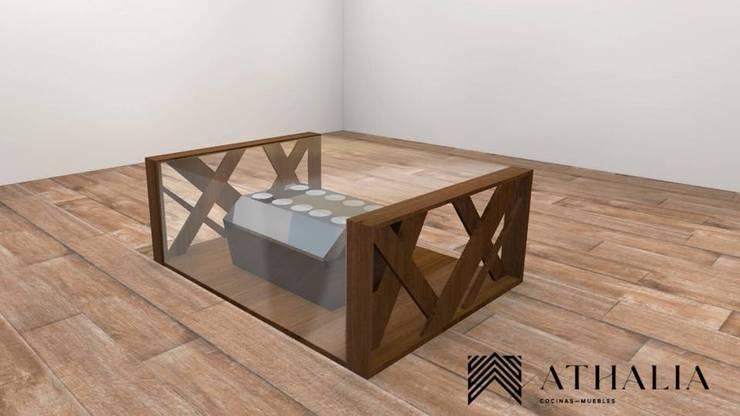 Diseño y Fabricación de Mesa Moderna: Salas de estilo moderno por Athalia cocinas y Carpinteria