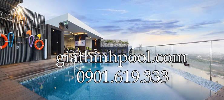 Tư vấn thiết kế hồ bơi trên sân thượng - giathinhpool:  de estilo  por GiaThinhPool TP.HCM