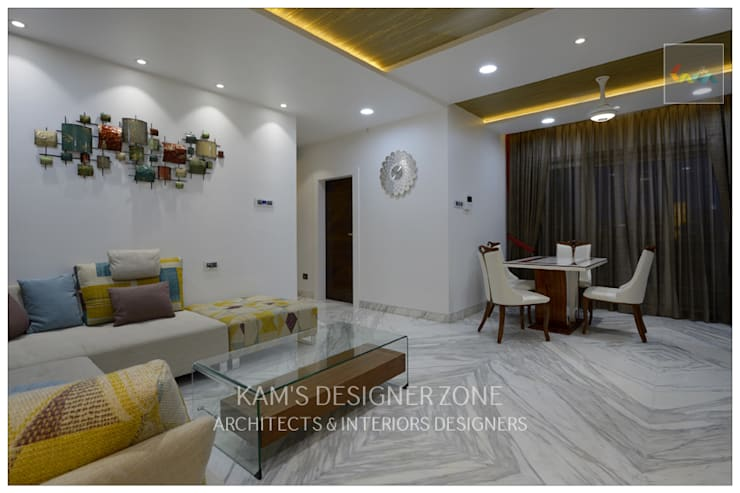 Sofa Set Arrangement:  Living room by KAM'S DESIGNER ZONE,Modern