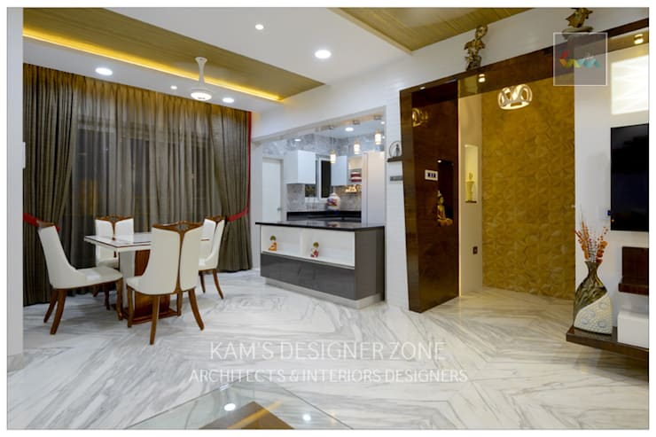 Flat Interior Design of Mr. Manish Wadia:  Living room by KAM'S DESIGNER ZONE,Modern