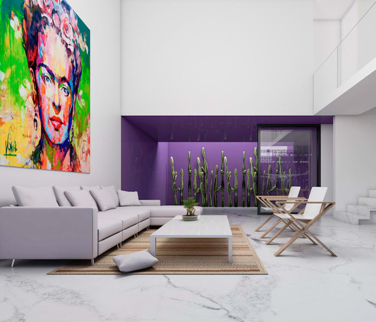 CASA G - GUADALAJARA JALISCO, MEXICO.: Salas de estilo  por Obed Clemente Arquitecto