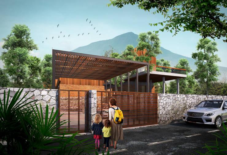 Fasad Depan:   by GUBAH RUANG studio