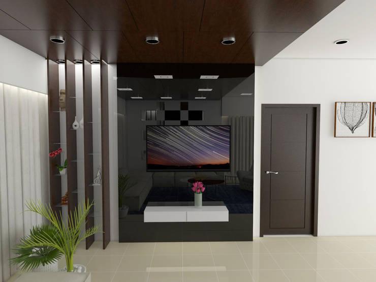 Residence Interiors:  Living room by URBAIN DEZIN STUDIO