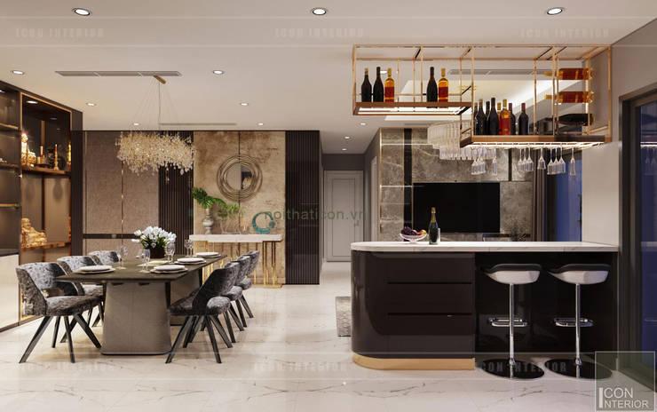 Phối hợp phong cách Tân cổ điển và Đương đại trong nội thất căn hộ:  Nhà bếp by ICON INTERIOR