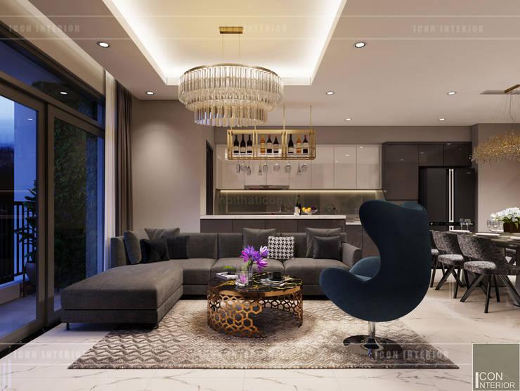 Phối hợp phong cách Tân cổ điển và Đương đại trong nội thất căn hộ:  Phòng khách by ICON INTERIOR