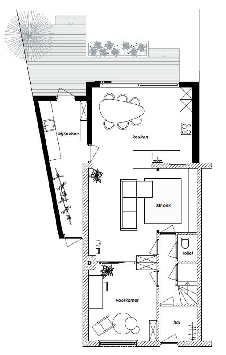 Plattegrond:  Eetkamer door Bolier Ontwerp & Bouwregie, Modern