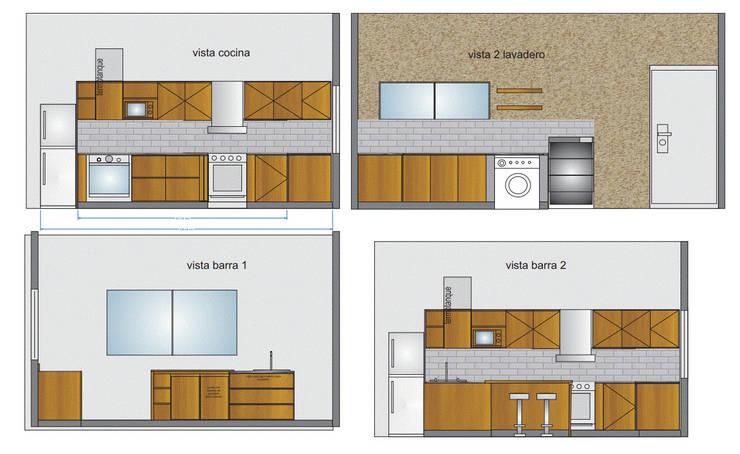 proyecto cocina tandil. muebles de cocina y distribucion.: Cocinas a medida  de estilo  por Punto Estilo,
