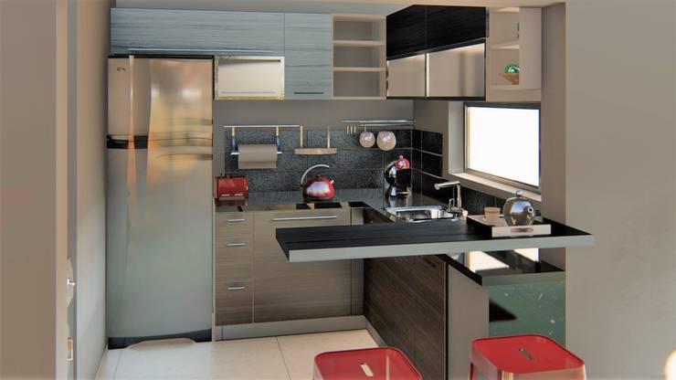 casa bioclimatica: Muebles de cocinas de estilo  por steel