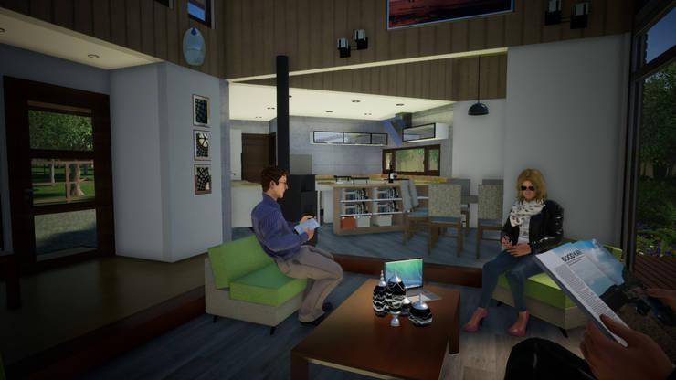 Vista Interior Living Comedor y Cocina: Comedores de estilo clásico por Nomade Arquitectura y Construcción spa