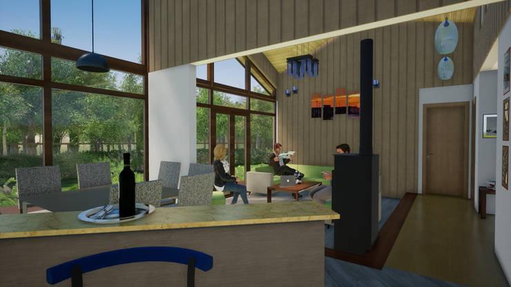 Vista desde Cocina a Comedor y Living: Livings de estilo clásico por Nomade Arquitectura y Construcción spa