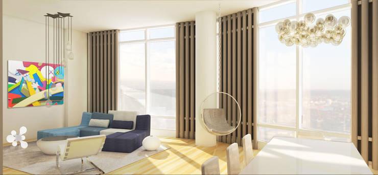 Rendering Comedor- Sala: Salas de estilo  por Studio ARI