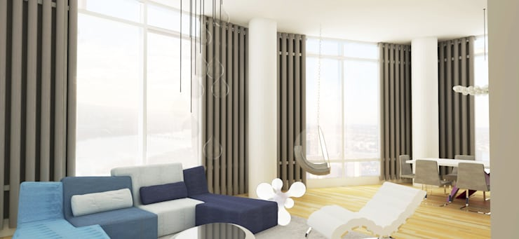 Rendering Sala- Comedor: Salas de estilo  por Studio ARI