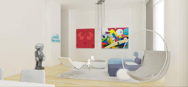 Rendering Sala Principal: Salas de estilo  por Studio ARI