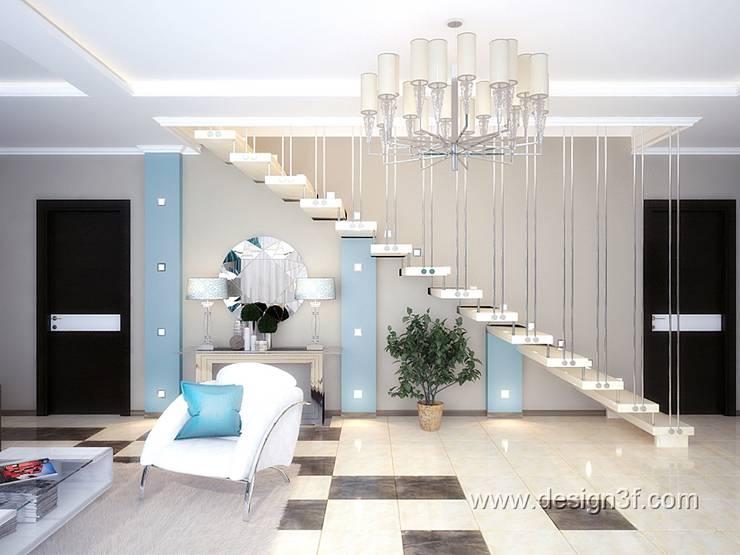 Большая современная гостиная: Гостиная в . Автор – студия Design3F, Минимализм