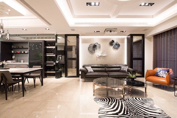 客廳沙發背牆設計:  客廳 by 沐築空間設計