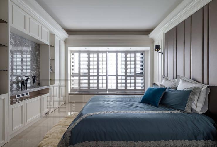 清新現代輕古典的主臥室:  臥室 by 沐築空間設計