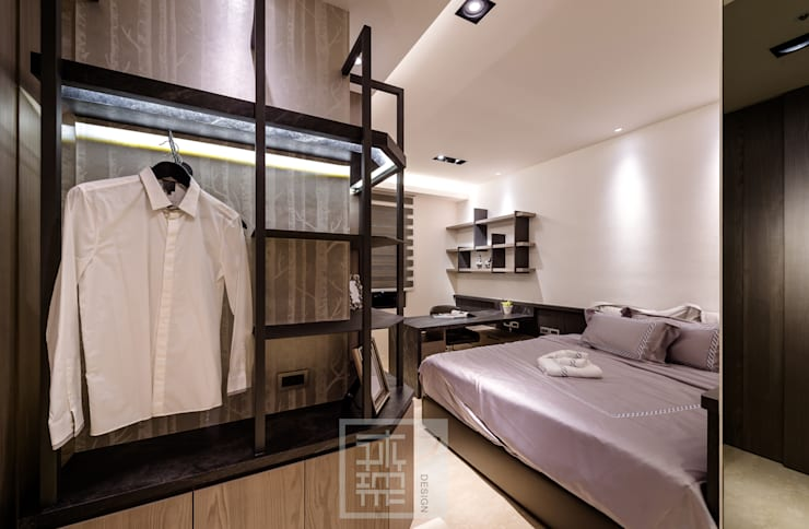 簡潔俐落男孩房:  臥室 by 沐築空間設計