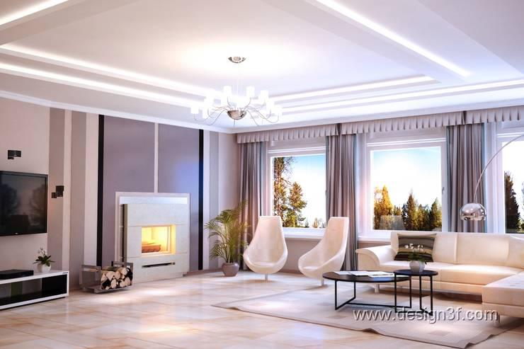 Большая современная гостиная с камином: Гостиная в . Автор – студия Design3F, Минимализм