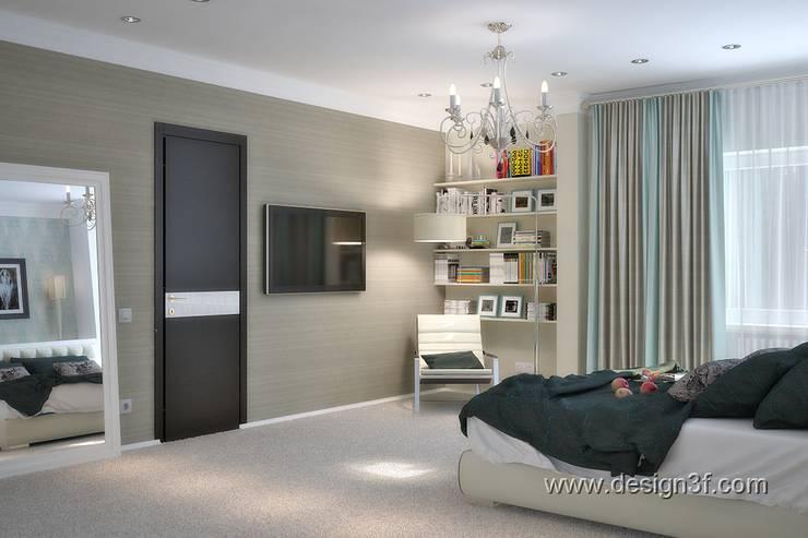 Интерьер большой спальни в современном стиле: Спальни в . Автор – студия Design3F, Минимализм